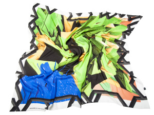 Shizuka Courage green, silk scarf